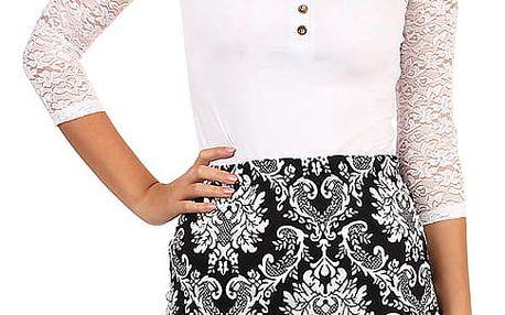 Dámská pouzdrová vzorovaná sukně - i pro plnoštíhlé černá/bílá