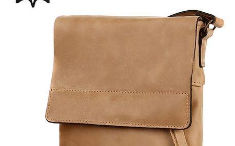 Malá crossbody kabelka z pravé kůže - Česká výroba béžová