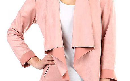 Dámský semišový cardigan s kapsami růžová