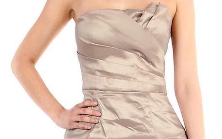 Dámské nabírané šaty bez ramínek béžová