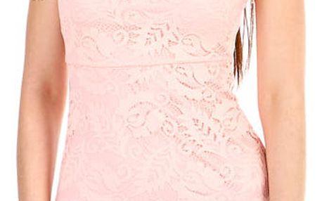 Dámské krajkované šaty s krátkým rukávem světle růžová