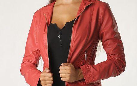 Koženková dámská bunda červená