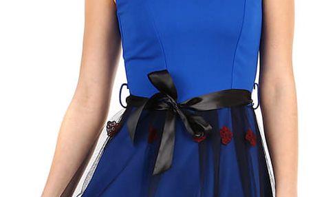 Áčkové večerní šaty s vyšívanou sukní z tylu modrá