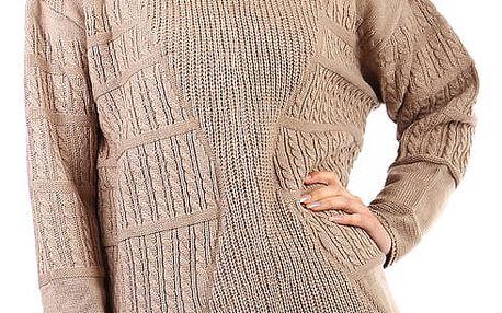 Dámský oversized svetr - i pro plnoštíhlé světle hnědá