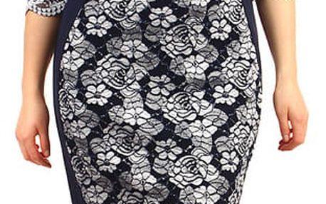 Květinové šaty s 3/4 rukávem - pro plnoštíhlé tmavě modrá