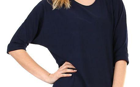 Dámské oversized triko s 3/4 rukávem tmavě modrá
