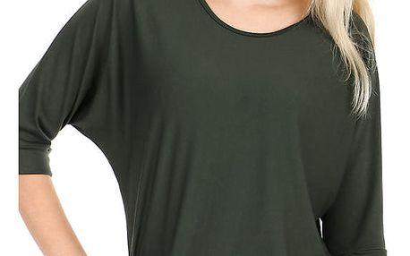 Dámské oversized triko s 3/4 rukávem tmavě zelená