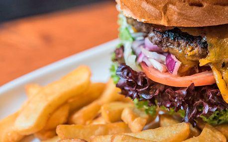 Burger s českým hovězím a steakové hranolky pro 2