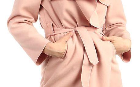 Dlouhý dámský kabát - kardigan s páskem starorůžová
