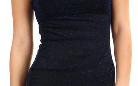 Třpytivé šaty s volným výstřihem tmavě modrá