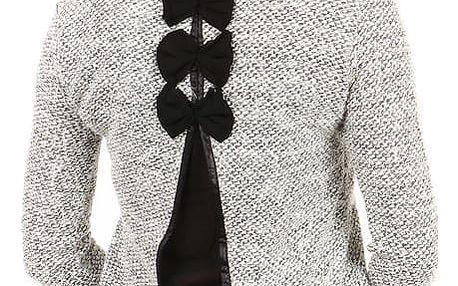 Elegantní svetřík s výkrojem a mašlemi na zádech šedá
