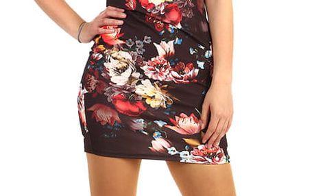 Mini šaty s květinovým vzorem černá