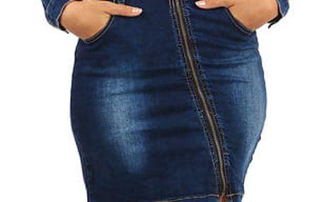 Džínové šaty s dlouhým rukávem modrá