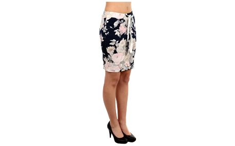 Dámská pouzdrová sukně s květinovým vzorem bílá
