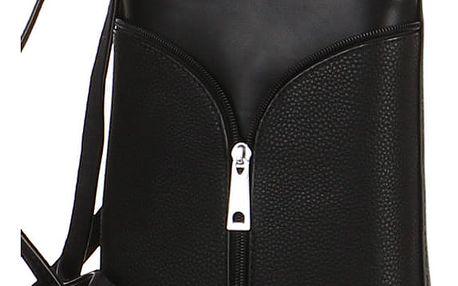 Malá koženková kabelka s ozdobným zipem černá