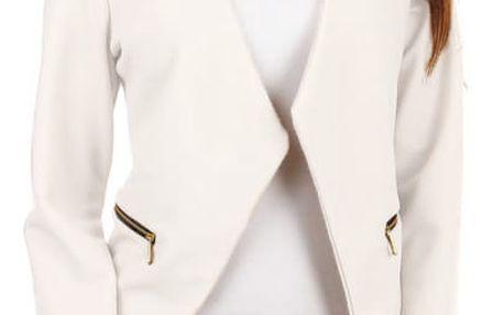 Krásné sako bez zapínání bílá
