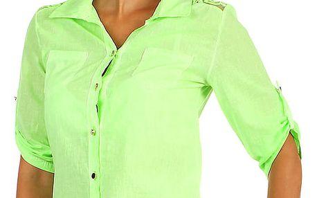 Košile s 3/4 rukávy a krajkou II.jakost neon zelená