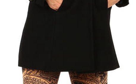 Dámský vlněný kabát s kapucí- i pro plnoštíhlé černá