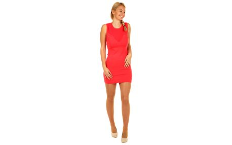 Úpletové dámské mini šaty s kamínky korálová