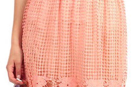 Děrovaná sukně do pasu s krajkou II.jakost lososová