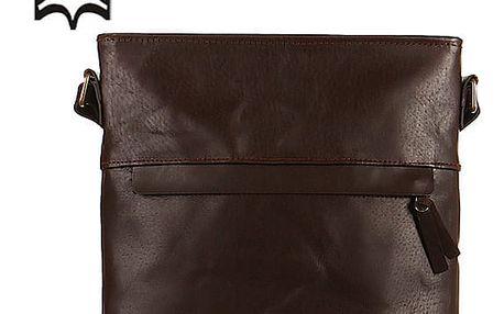 Velká crossbody kožená kabelka - Česká výroba tmavě hnědá