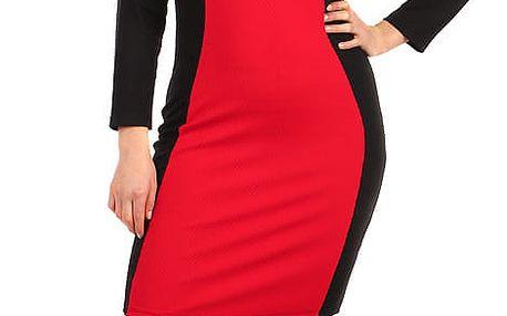 Červeno-černé šaty s dlouhým rukávem - pro plnoštíhlé červená