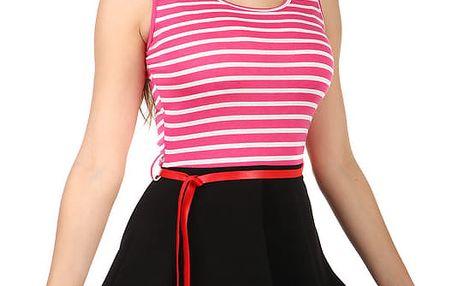 Pruhované šaty v retro stylu tmavě růžová