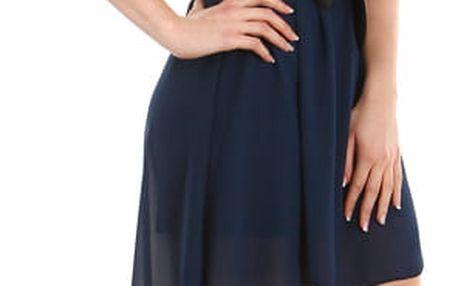 Asymetrické šaty s krajkou tmavě modrá