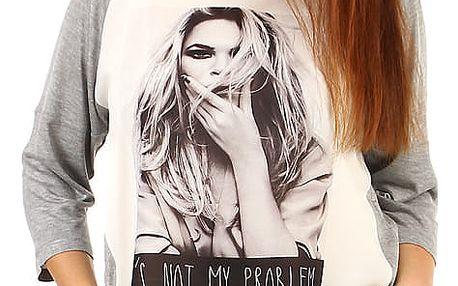 Dámské tričko s moderním potiskem krémová