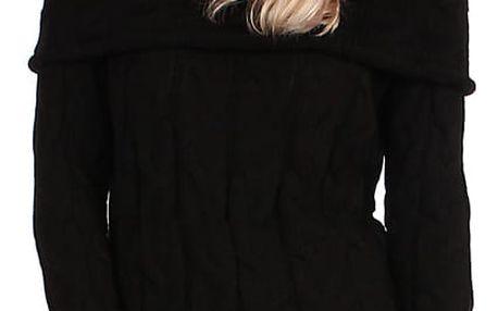 Pletené dámské šaty s dlouhým rukávem černá