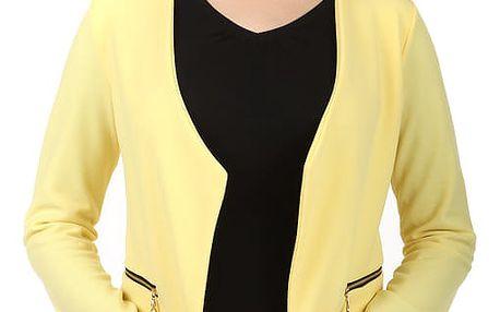Krásné sako bez zapínání žlutá