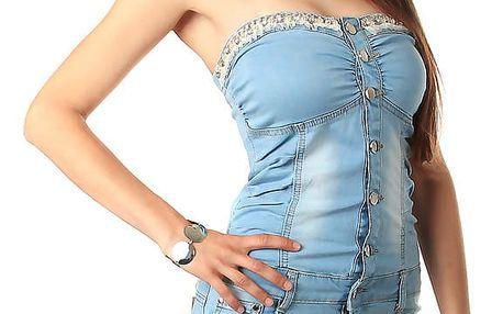 Dámské džínové mini šaty bez ramínek modrá
