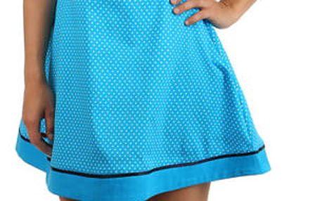 Bavlněné šaty s puntíky a páskem modrá