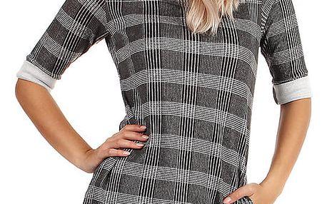 Kostkované dámské úpletové šaty s 3/4 rukávem šedá