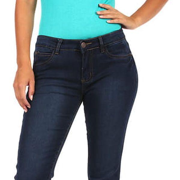 Dámské rovné džíny - nízký pas tmavě modrá