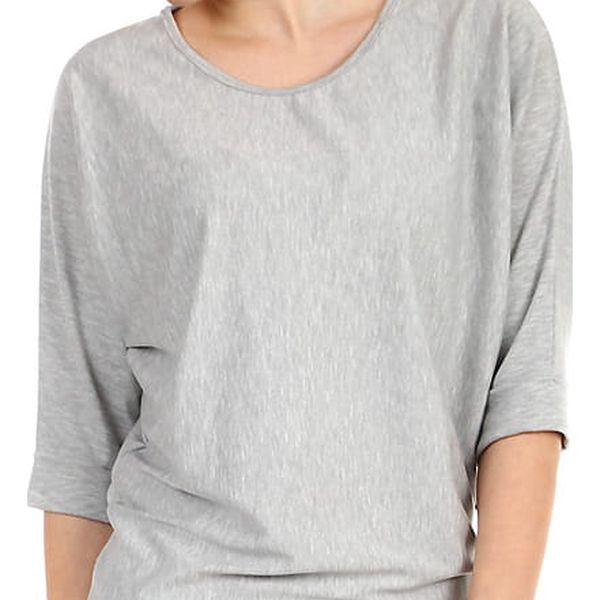 Dámské oversized triko s 3/4 rukávem šedá
