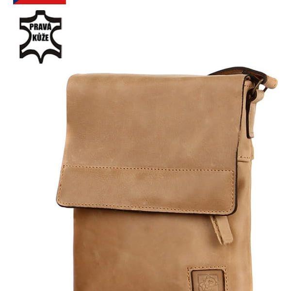 Malá crossbody kabelka z pravé kůže - Česká výroba khaki