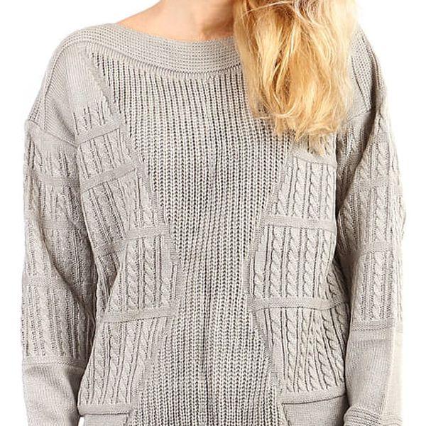 Dámský oversized svetr - i pro plnoštíhlé světle šedá