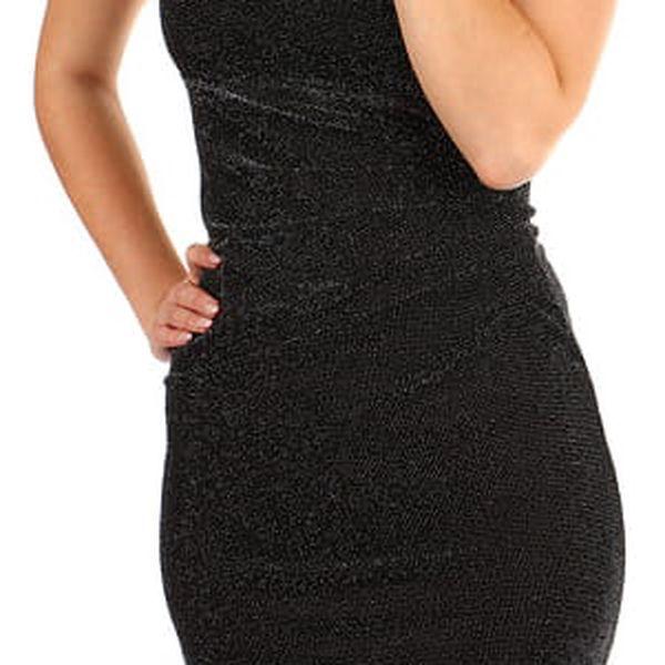 Třpytivé šaty s volným výstřihem zlatá3