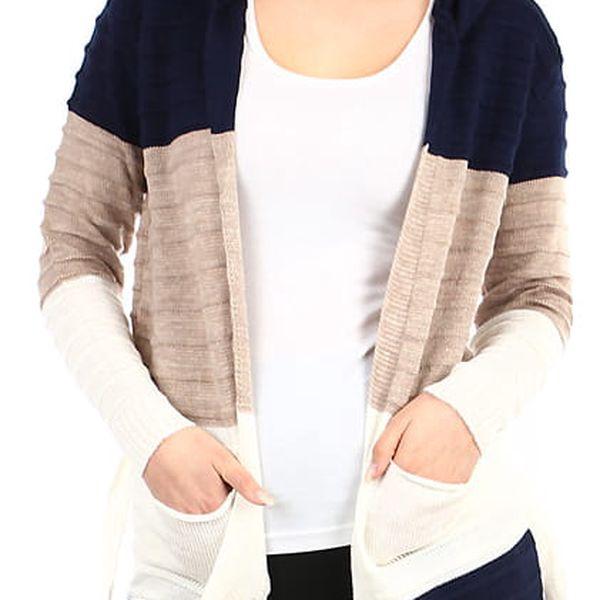 Dlouhý dámský cardigan s kapucí modrá