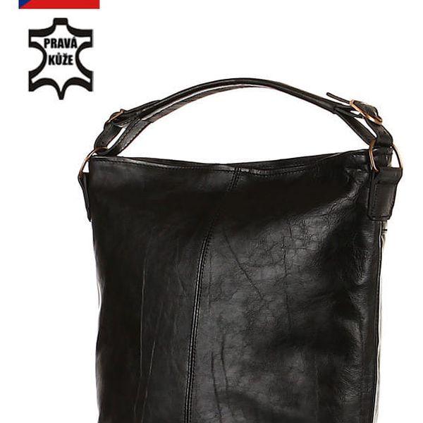 Prostorná kožená kabelka - Česká výroba černá