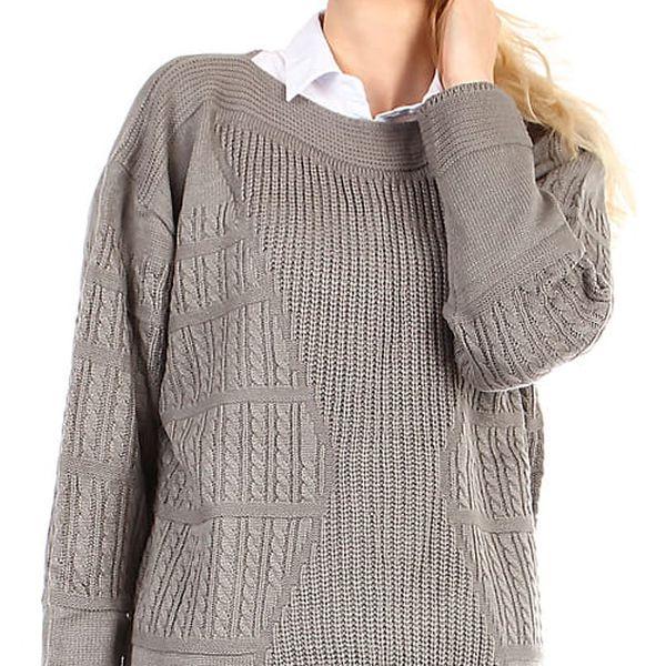 Dámský oversized svetr - i pro plnoštíhlé šedá