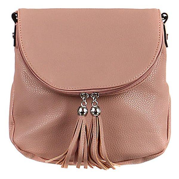 Malá crossbody kabelka se střapci růžová