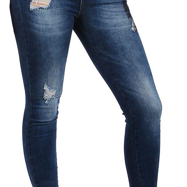 Dámské džíny s potrhaným efektem tmavě modrá