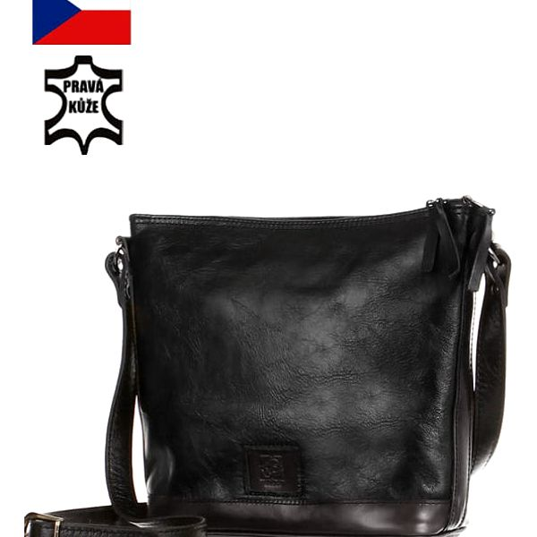 Dámská kožená kabelka - Česká výroba černá