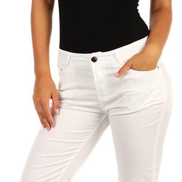 Bílé dámské džíny klasického střihu bílá