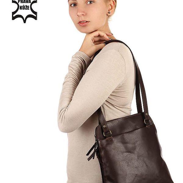 Batoh/kabelka 2v1 z pravé kůže - Česká výroba zrzavá