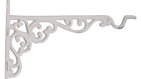 Chic Antique Kovová konzole s háčkem Antique white, bílá barva, kov