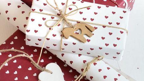 IB LAURSEN Balící papír Hearts red - 10 m, červená barva, papír