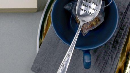 La de da! Living Postříbřená čajová lžička Drink Tea, stříbrná barva, kov
